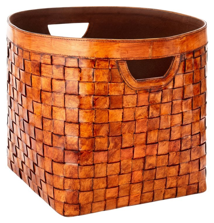 Square Leather Weave Basket, Tobacco