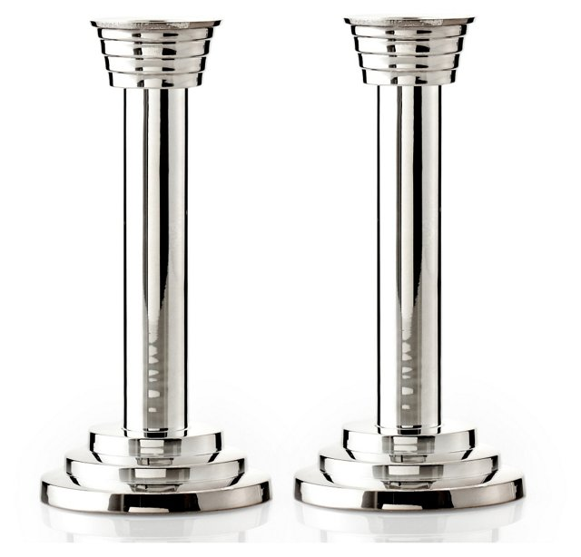 "S/2 7"" Polished Silver Candlesticks"