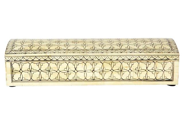 Wood and Bone Inlay Pen Box, Sepia/Brown