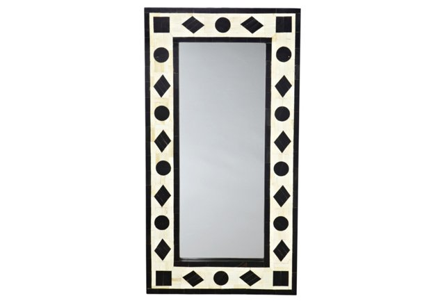 "Menena 34"" Bone Border Mirror"
