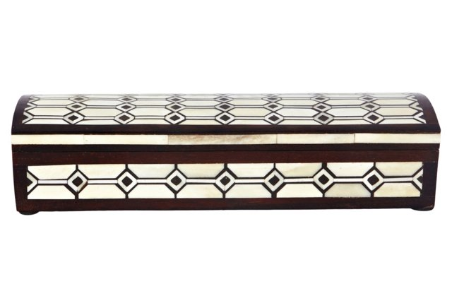 Nehru Bone Inlay Pen Box, Chocolate