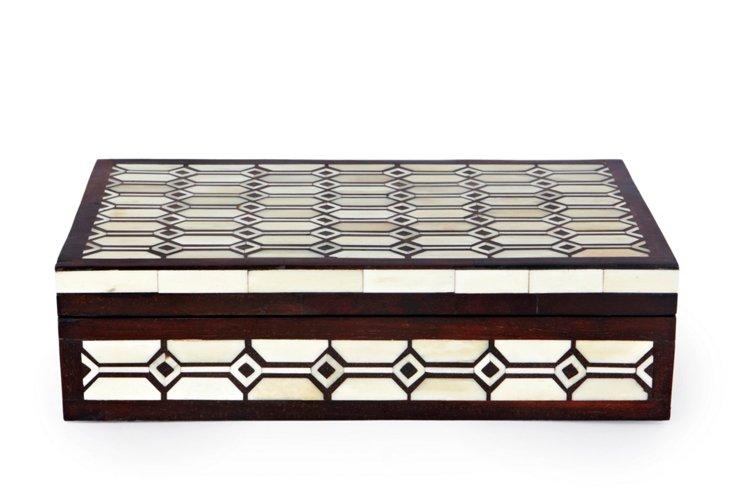 Nehru Wood And Bone Box, Ivory/Brown
