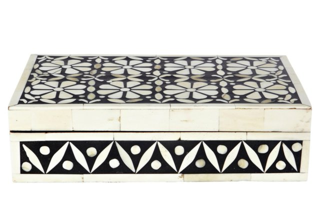 Brigade Bone Inlay Box, Black/Ivory