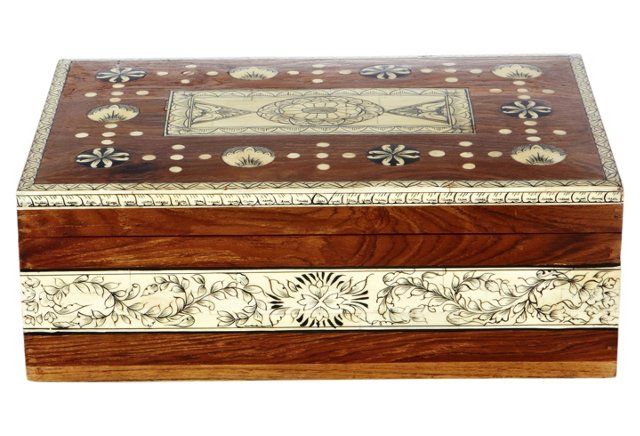 Hydera Painted Wood and Bone Box