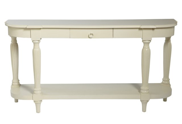 James Console Table, Shiny White
