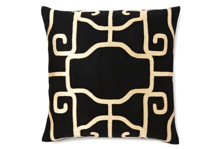 20x20 Mercer Pillow, Black/Cream