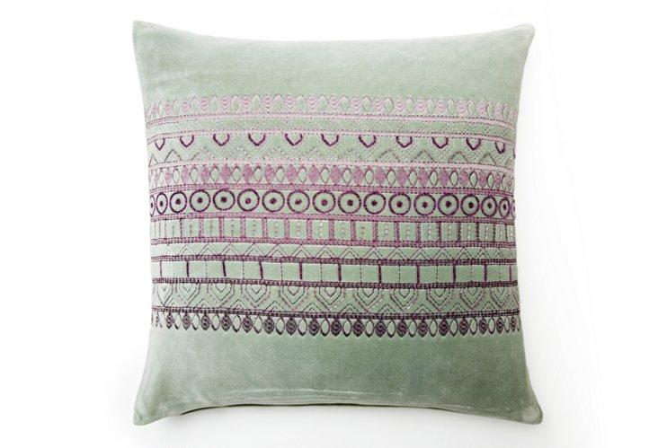 Banded 20x20 Pillow, Purple/Mint