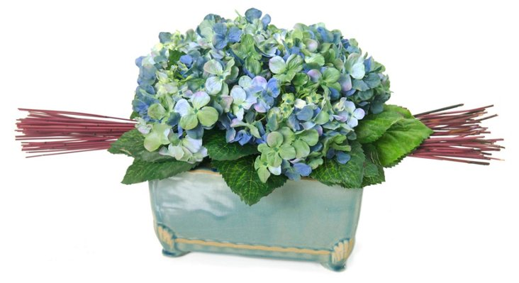 "23"" Hydrangea & Reeds in Vase"
