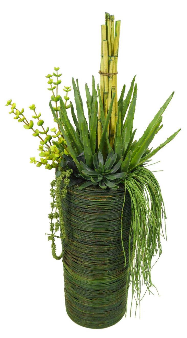 "42"" Birch & Succulents in Vase"