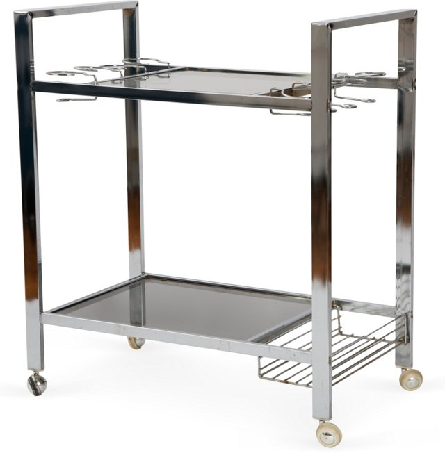 C. 1970 Chrome Bar Cart