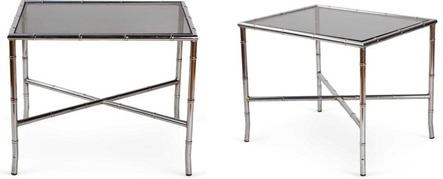 Bamboo-Style Chrome Side Tables, Pair