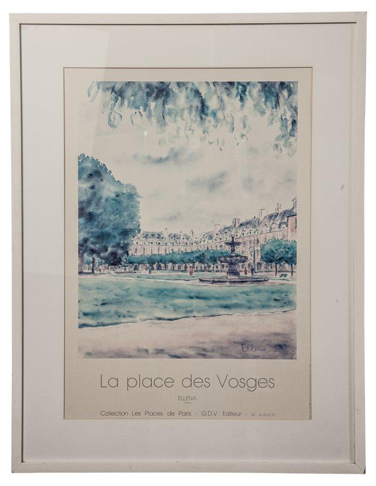 Watercolor Print, La Place des Vosges