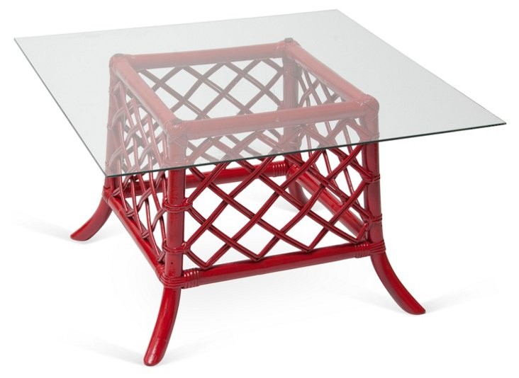 Red Wicker Glass Coffee Table