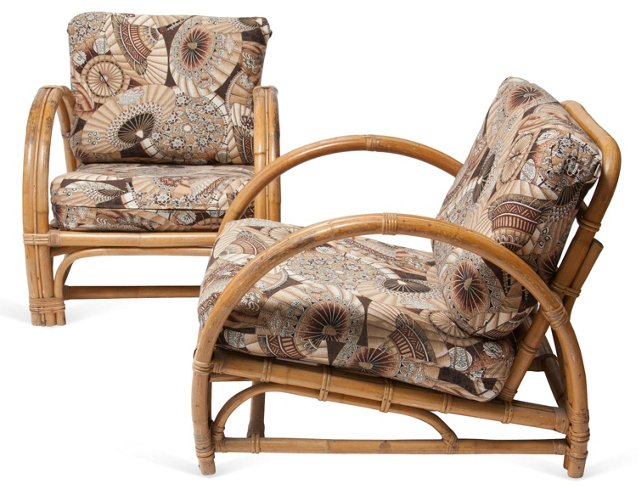 Rattan Lounge Chairs, Pair