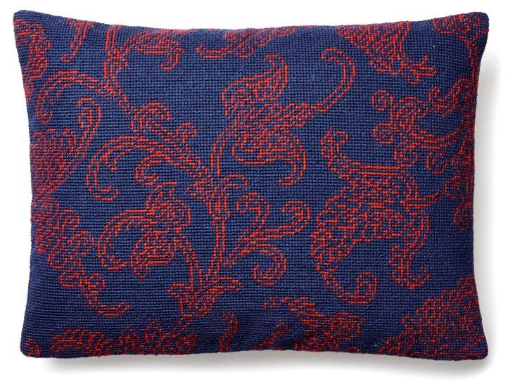 Paisley 12x16 Needlepoint Pillow, Blue