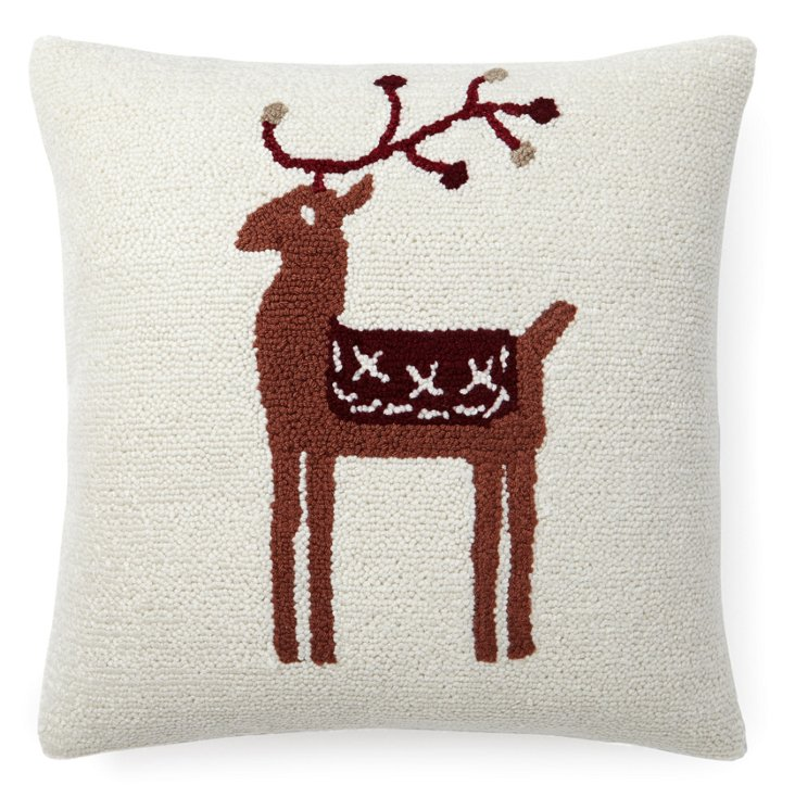 Reindeer 16x16 Pillow, White