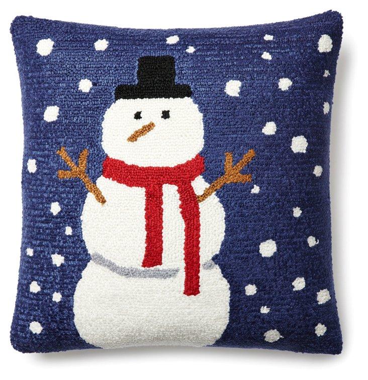 Snowman 16x16 Pillow, Blue