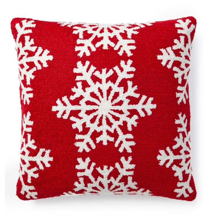 Snowflakes 16x16 Pillow, Red