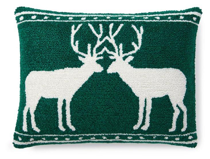 Deer 12x16 Pillow, Green