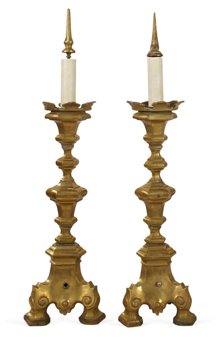Antique Pricket Candlesticks, Pair