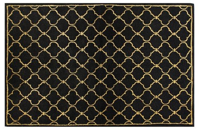 Lattice Rug, Black/Gold