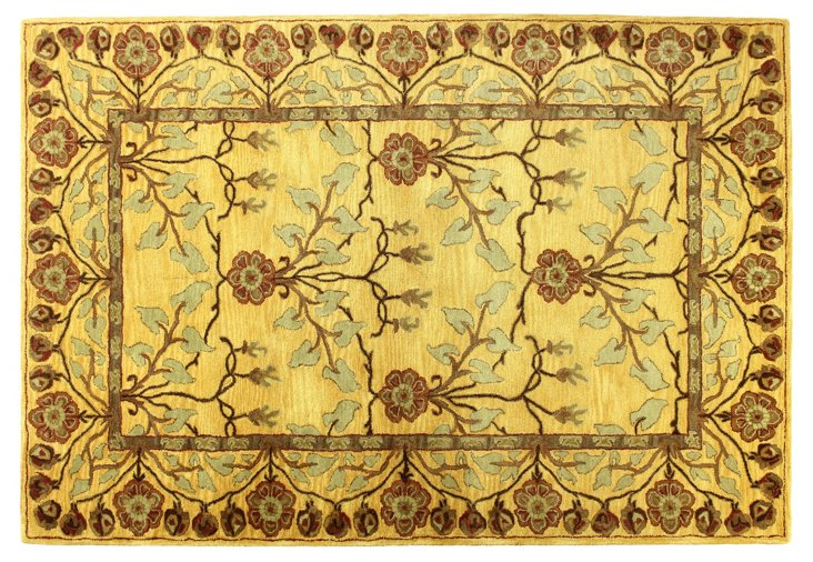 "7'9""x9'9"" Crafts Rug, Gold/Rust"