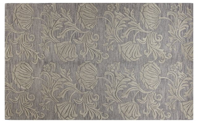 "2'6""x8' Damask Tones Rug, Dove Gray"