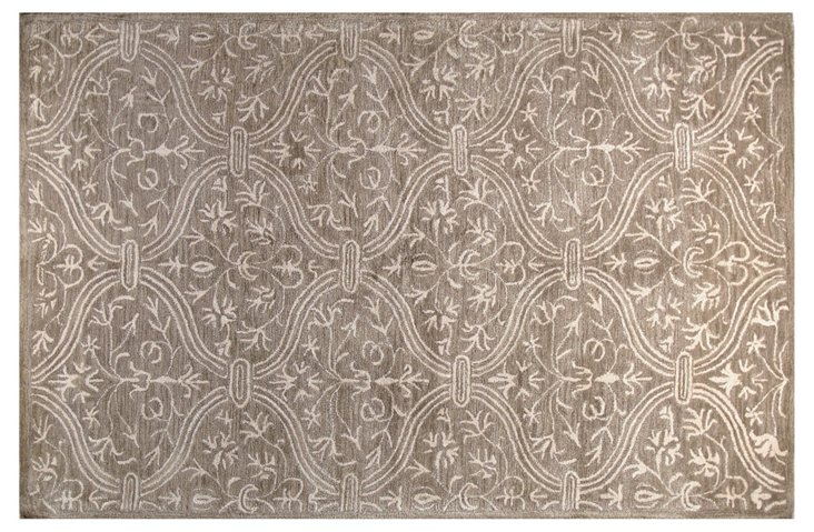 """8'6""""x11'6"""" Curtain Rug, Taupe/Ivory"""