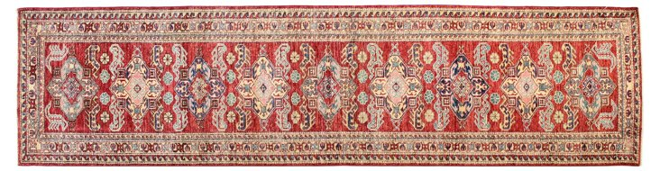 "2'7""x10' Kazak Runner, Rust"