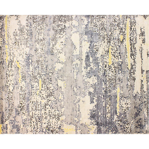 Deville Hand-Knotted Rug, Ivory/Gray