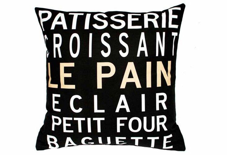 Patisserie 20x20 Pillow, Black