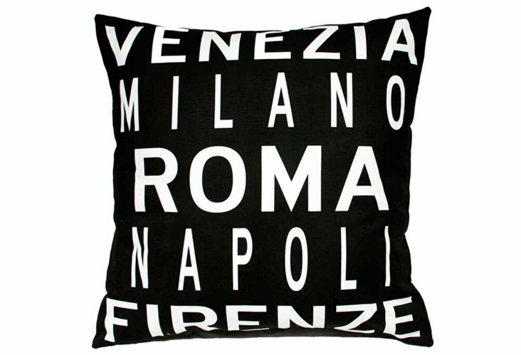 Cities of Italy 20x20 Pillow, Black