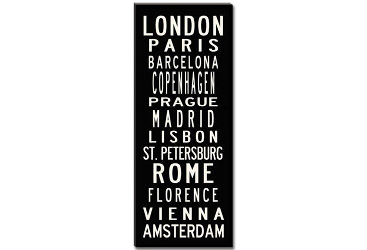 European Cities Canvas, Black