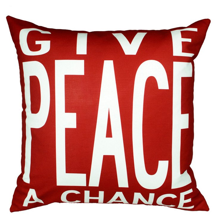 Peace 20x20 Pillow, Red