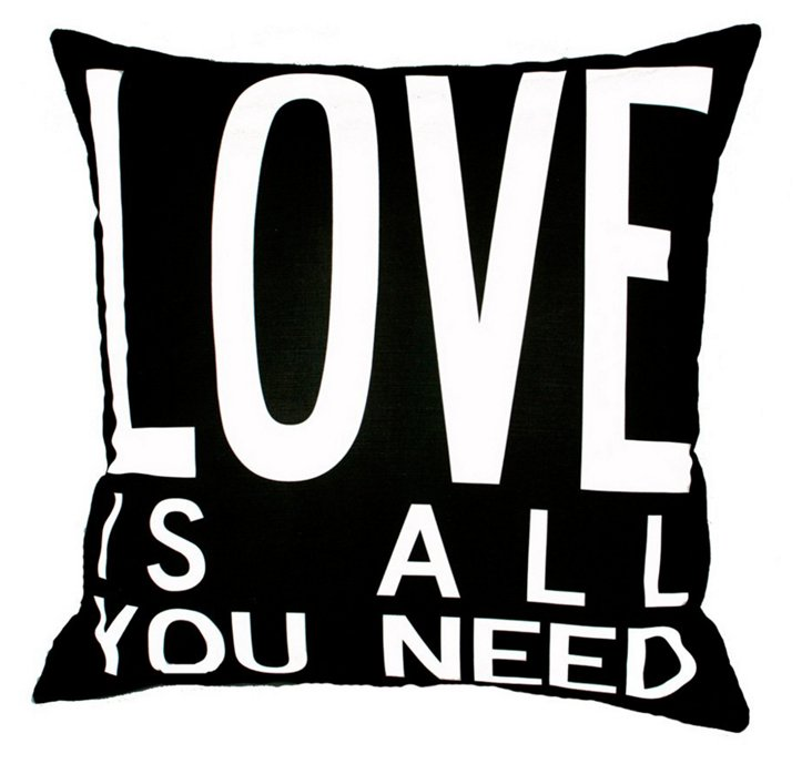 Love Is All 20x20 Pillow, Black