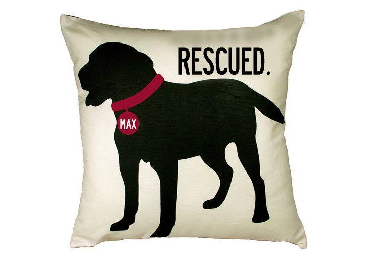 Black Lab Rescue 20x20 Pillow, Sand