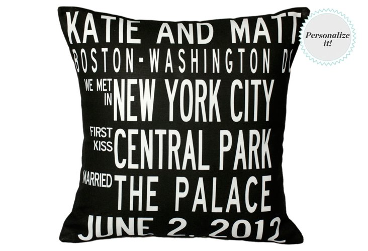 Personalized Anniversary 16x16 Pillow, Black