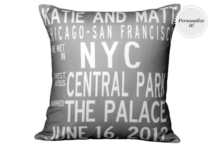 Personalized Anniversary 16x16 Pillow, Gray