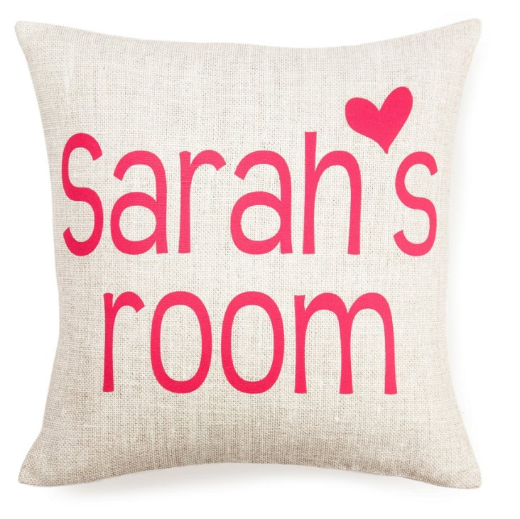 Girl's Room 16x16 Pillow, Pink