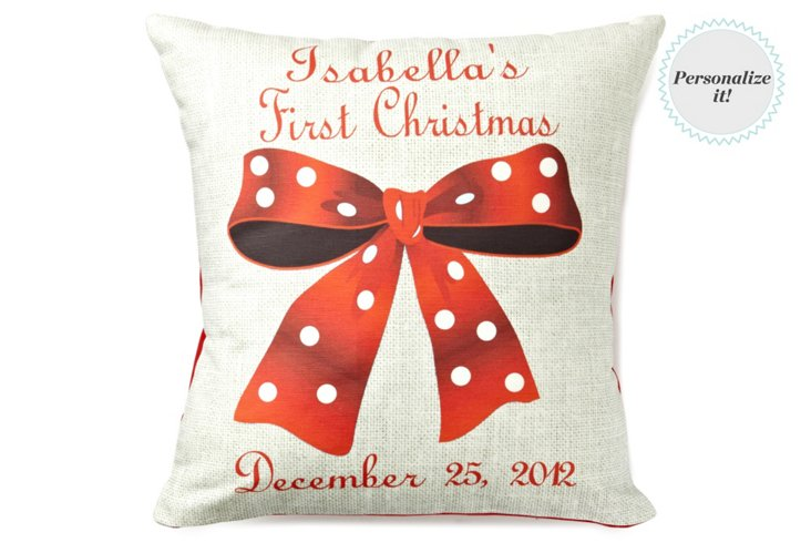 First Christmas 16x16 Pillow, Red