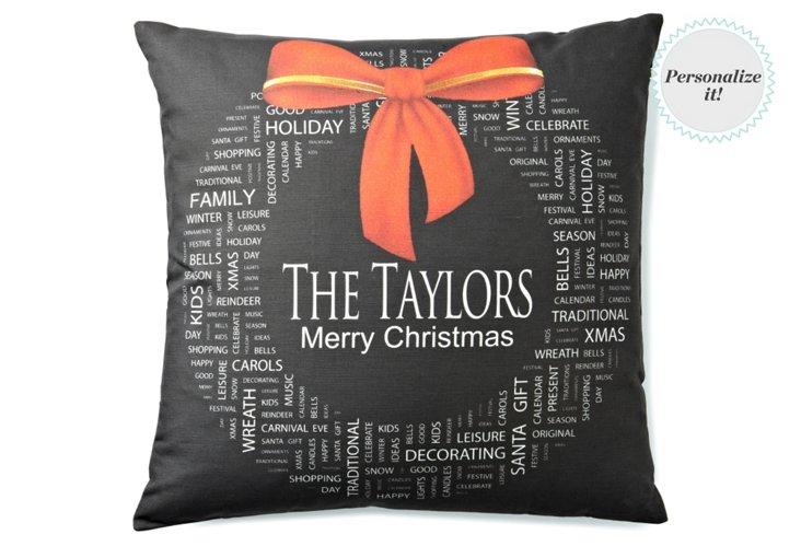 Christmas Wreath 20x20 Pillow, Black