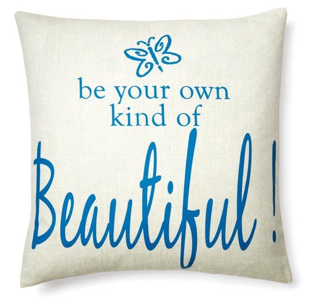 """Beautiful"" 20x20 Pillow, Blue"