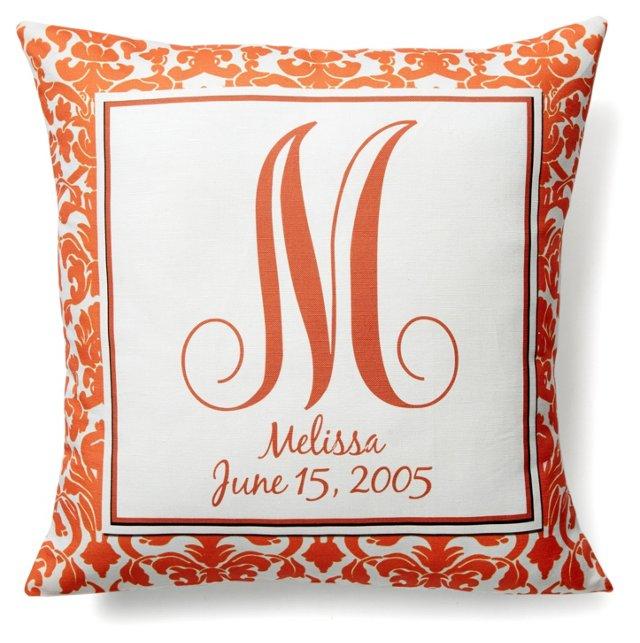 Monogram 16x16 Pillow, Orange