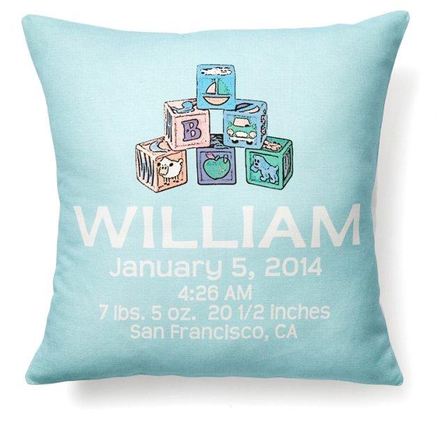 Cube Personal 16x16 Linen Pillow, Blue