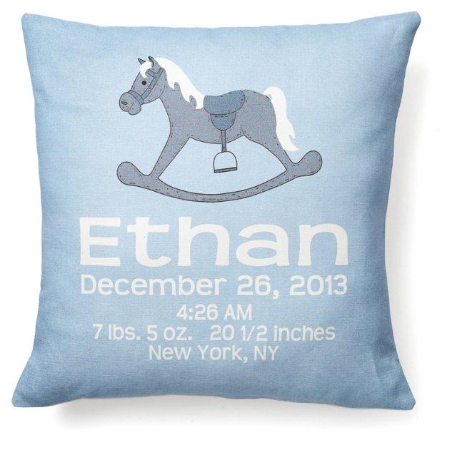 Horse Personal 16x16 Linen Pillow, Blue