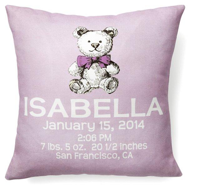 Bear Personal 16x16 Linen Pillow, Purple