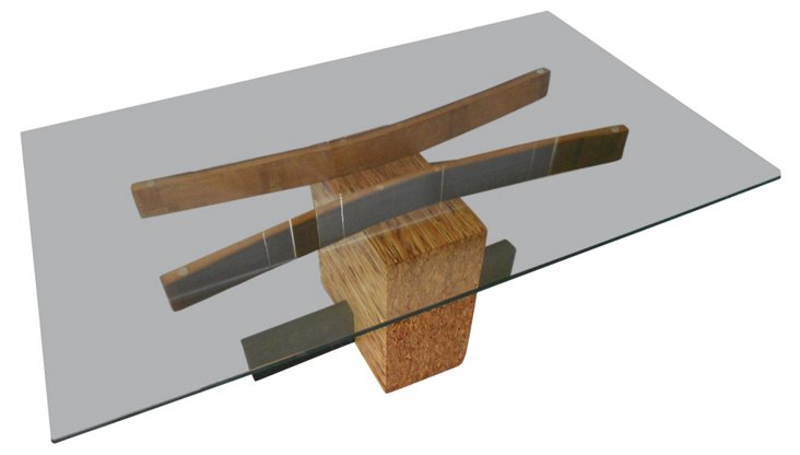 Wine Barrel Stave Glass Top Table
