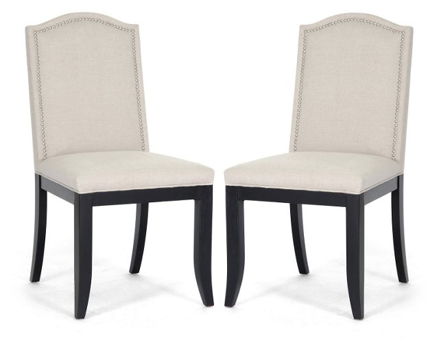 Beige Beatrice Dining Chairs, Pair