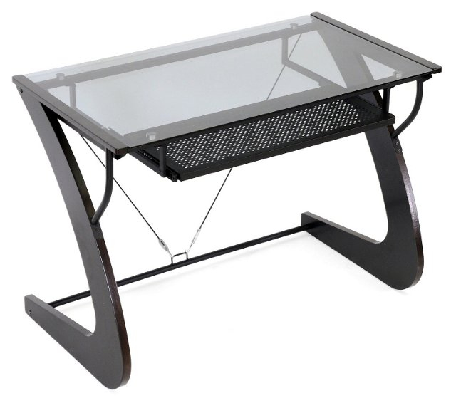 Sculpten Computer Desk, Wenge/Smoke