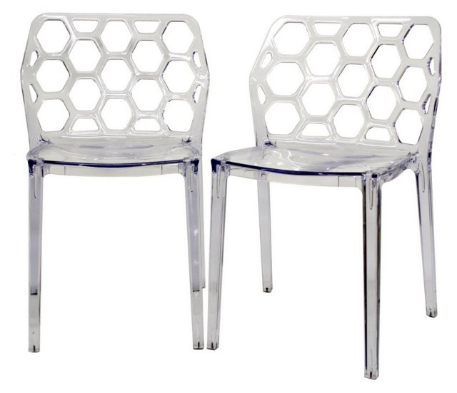 Clear Honeycomb Dining Chairs, Pair